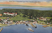 Aerial View of Mackinac Island Vintage Postcard