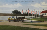 Fort Mackinac Avenue of Flags Vintage Postcard