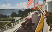 Grand Hotel Porch and Mackinac Bridge Vintage Postcard