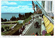 Mackinac Bridge and Grand Hotel Vintage Postcard